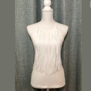 Zara Trafaluc Womens White Fringe Tank Top Size S
